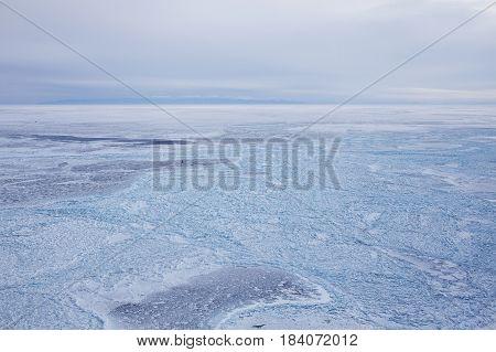 Ice Field Of Hummocks. Lake Baikal