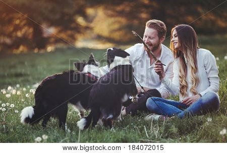 Beautiful romantic couple in love walking dogs in nature and smiling