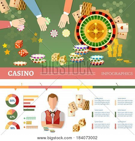 Casino infographics people play casino roulette playing baccarat table casino games vector illustration