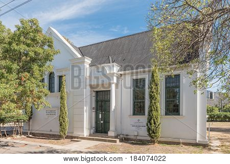 ROBERTSON SOUTH AFRICA - MARCH 26 2017: The historic public library in Robertson built in 1904 to commemorate the coronation of King Edward VII