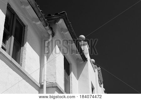 Old house wall in black and white