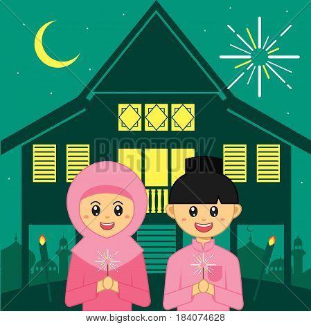 Hari Raya Aidilfitri vector illustration. Cute muslim boy and girl with traditional malay village house / kampung.