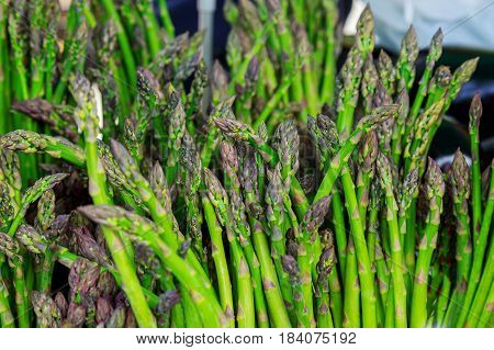 farmer's market selling Fresh and organic asparagus