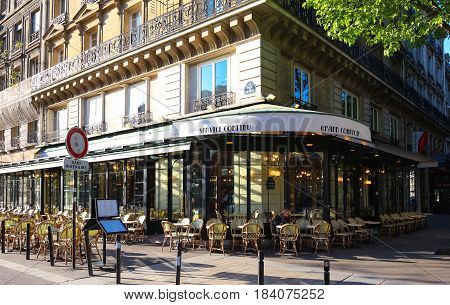 Paris France 23 April 2017 : The traditional French cafe
