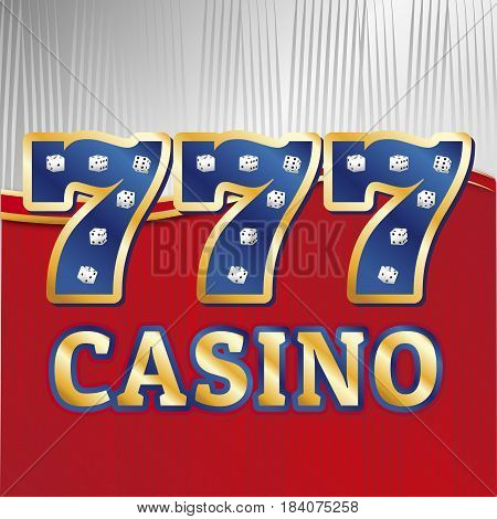 Lucky sevens jackpot concept 777. Vector casino template. Slot 777 with set of dices.