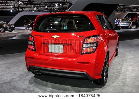 NEW YORK- APRIL 12: Chevrolet Sonic Turbo at the New York International Auto Show 2017, at the Jacob Javits Center. This was Press Preview Day One of NYIAS, on April 12, 2017 in New York City
