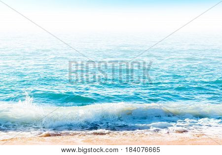 Ocean Surface With Waves Near The Beach