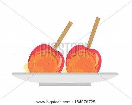 Apples in caramel, icon flat, cartoon style. Candy apple isolated on white background. Vector illustration, clip-art