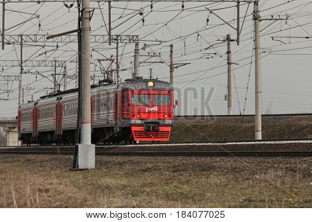 April 28 2017 St. Petersburg Russian Railways Commuter train countryside