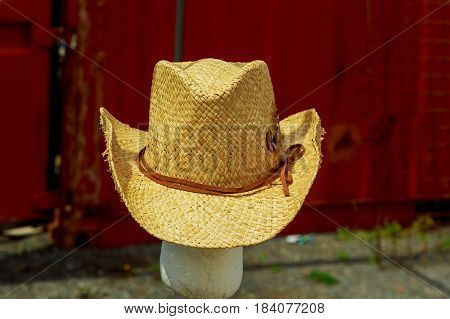 Open Market Stall With Summer Hats For Men On Sale.