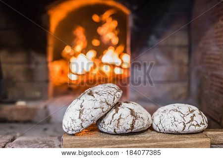 Closeup of a loaf of bread from the furnace.