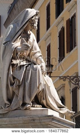 ROME, ITALY - SEPTEMBER 02: Prophet Isaiah by Revelli on the Column of the Immaculate Conception on Piazza Mignanelli in Rome, Italy on September 02, 2016.