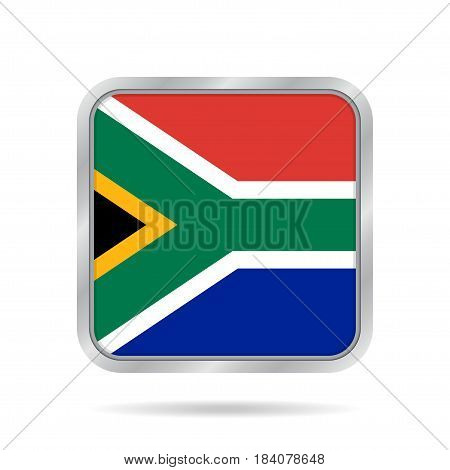 National flag of South Africa. Shiny metallic gray square button with shadow.