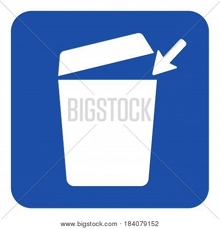 blue rounded square information road sign - white trashcan with open lid and arrow icon
