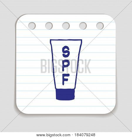 Doodle sunscreen lotion bottle icon. Blue pen hand drawn infographic symbol on a notepaper piece. Line art style graphic design element. Web button with shadow. SPF protection factor concept.