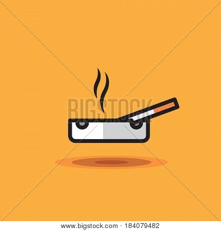 Vector icon smoking cigarette lies on ashtray on orange background in style of linework. Illustration cigarette on ashtray flat