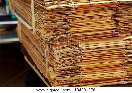 Stacking Used Cardboard Box For Recycling