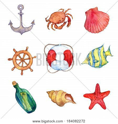 watercolor sea set isolated at white background, hand drawn illustration