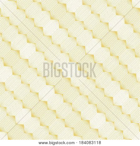 Vector seamless pattern. Infinitely repeating modern geometrical stylish texture. Hexagonal linear grid with striped hexagons. Element of graphical design