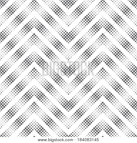 Vector seamless pattern. Modern stylish texture in the form of zigzags waves. Regularly repeating geometric shapes dotted zigzag stripes. Vector element of graphical design