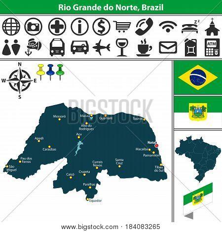 Map Of Rio Grande Do Norte, Brazil