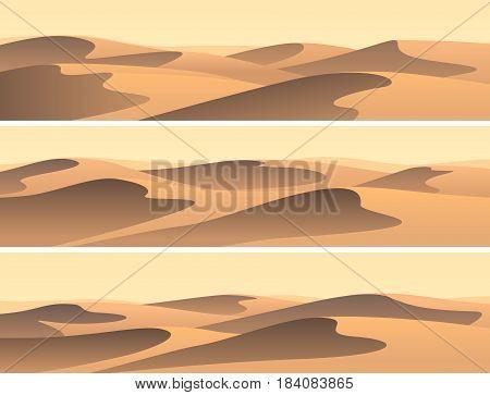 Set of horizontal banners sandy desert barchans.