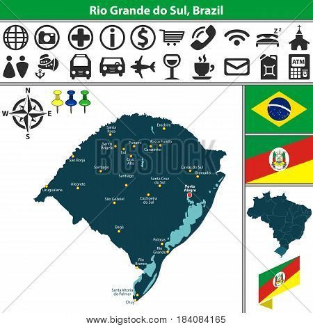 Map Of Rio Grande Do Sul, Brazil