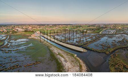 Aerial View of Ribeira do Gago at sunset near the Aveiro Lagoon at Murtosa Aveiro Portugal
