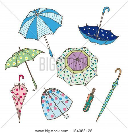 Colorful umbrellas collection of different types in various positions in hand drawn style isolated vector illustration