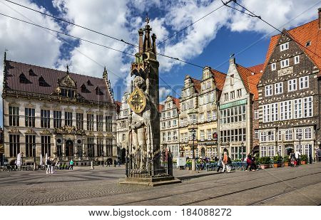 Bremen, Germany - April 4, 2017: Market square in Germany, Knight Roland statue on Marktplatz.