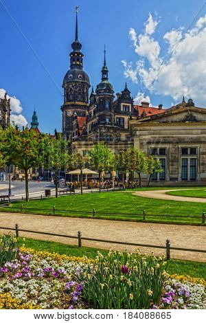 Dresden, Germany - April 29, 2017: Dresden Cathedral  cityscape, Germany