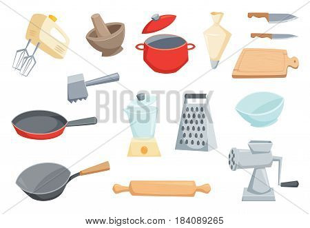 Kitchen utensils set. Kitchenware and cutlery. Cooking items set. Mixer, saucepan, meat grinder, wok frying pan, mixer, rolling pin, meat hammer, grater, mortar, knife, cutting board, cup, pastry bag