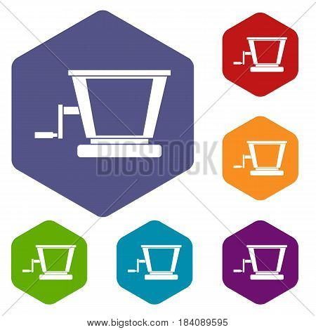 Old grape juicer icons set hexagon isolated vector illustration