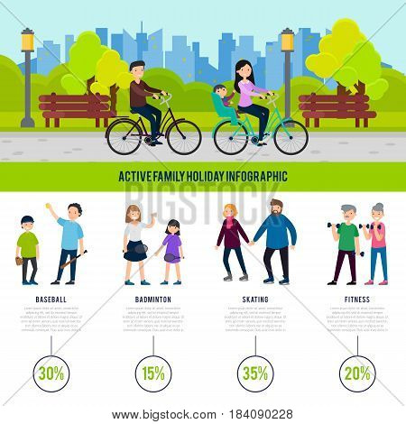 Healthy family infographic concept with people and the most popular games and sport activities on holiday vector illustration