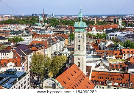Munich scenic aerial panorama of the Old Town architecture Bavaria, Germany