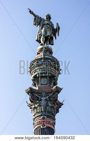 Barcelona Cilumbus monument (Mirador de Colom) Catalonia Spain. Bronze statue