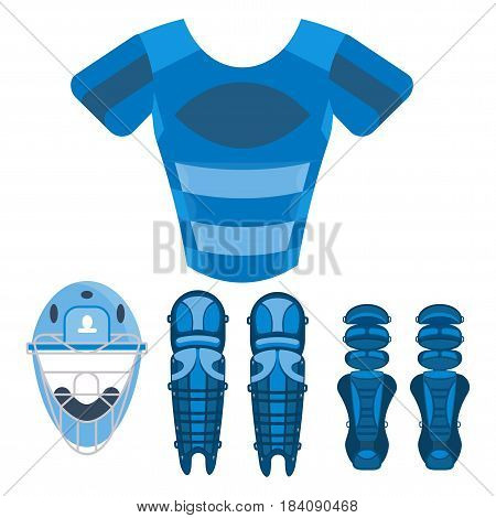 Blue baseball chest protector. Baseball equipment. Flat vector cartoon illustration. Objects isolated on a white background.