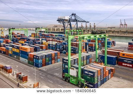 Casablanca, Morocco - April 2, 2017: Container terminal in Casablanca sea port, Morocco