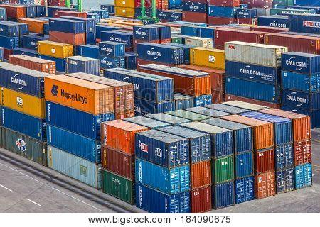 CASABLANCA, MOROCCO - APRIL 17, 2017: Containers in cargo sea port