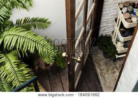 Open Door with Garden View