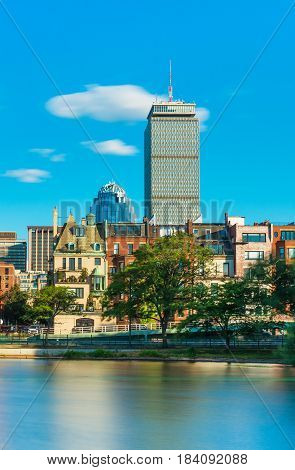 Boston MA - July 2016, USA: Prudential Tower skyscraper and historical buildings in Back Bay, view from Charles River (Storrow Lagoon)