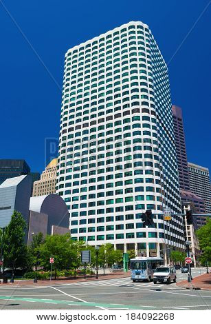 Boston, MA - June 2016, USA: View on Keystone building located in downtown Boston, one of the tallest skyscrapers in the city