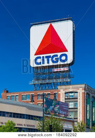 Boston, MA - July 2016, USA: Big billboard with logo of Citgo petrol and fuel industry company (Fenway park Kenmore Square)