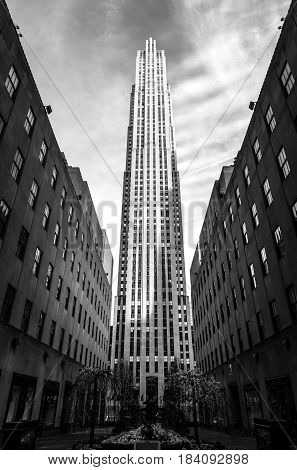 Manhattan, New York - April 2015, USA: Rockefeller Center building in wide angle perspective, one of the most popular landmarks in New York City, high contrast black and white photo