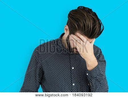 Man Headache Sickness Failed Disappointed Portrait