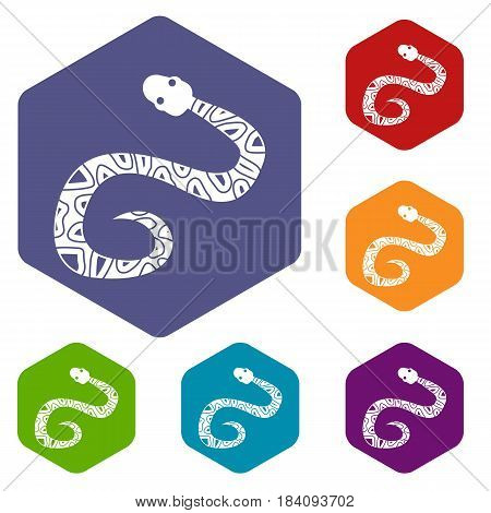 Snake icons set hexagon isolated vector illustration