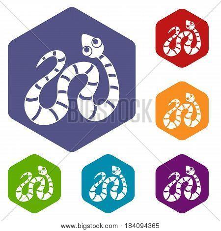 Black striped snake icons set hexagon isolated vector illustration