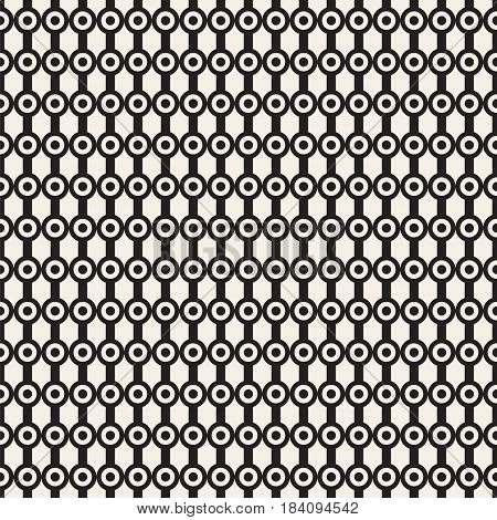 Vector seamless pattern. Repeating abstract background with circles.  Graphic linear streaks with dots