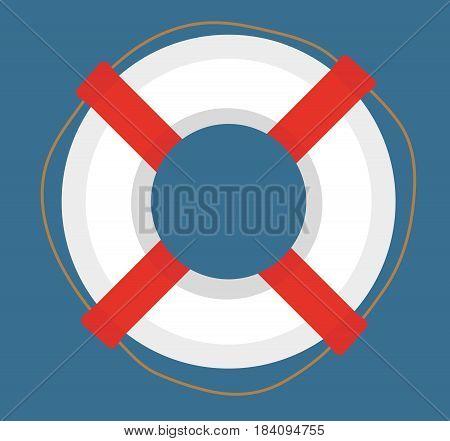 Lifebuoy. icon flat, cartoon style. Isolated on white background. Vector illustration, clip-art
