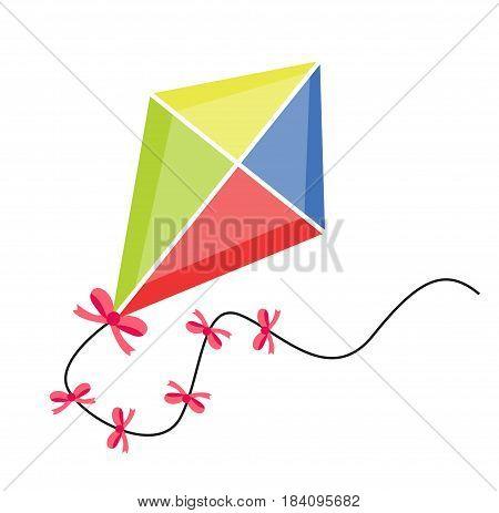Kite flying. icon flat, cartoon style. Isolated on white background. Vector illustration, clip-art